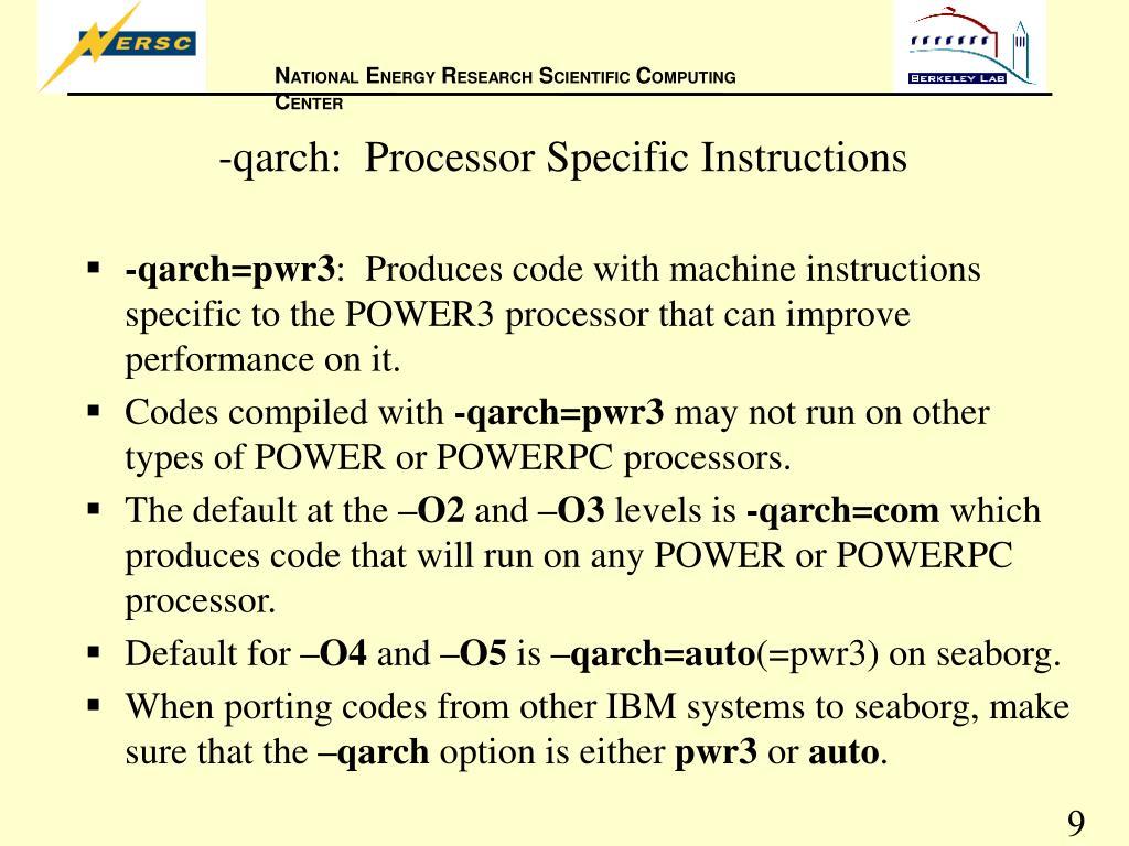 -qarch:  Processor Specific Instructions