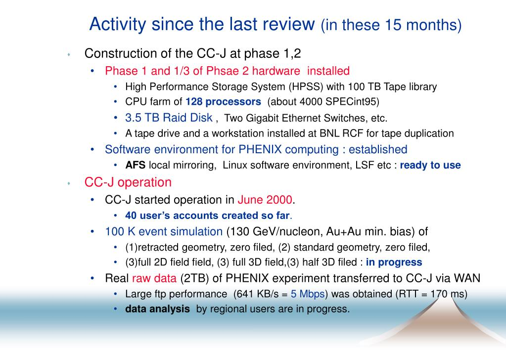 Activity since the last review