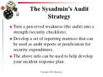 the sysadmin s audit strategy