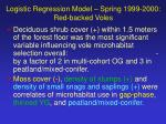 logistic regression model spring 1999 2000 red backed voles