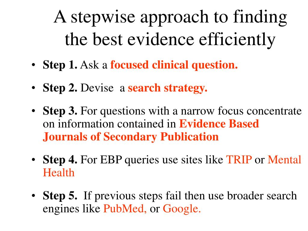 A stepwise approach to finding the best evidence efficiently