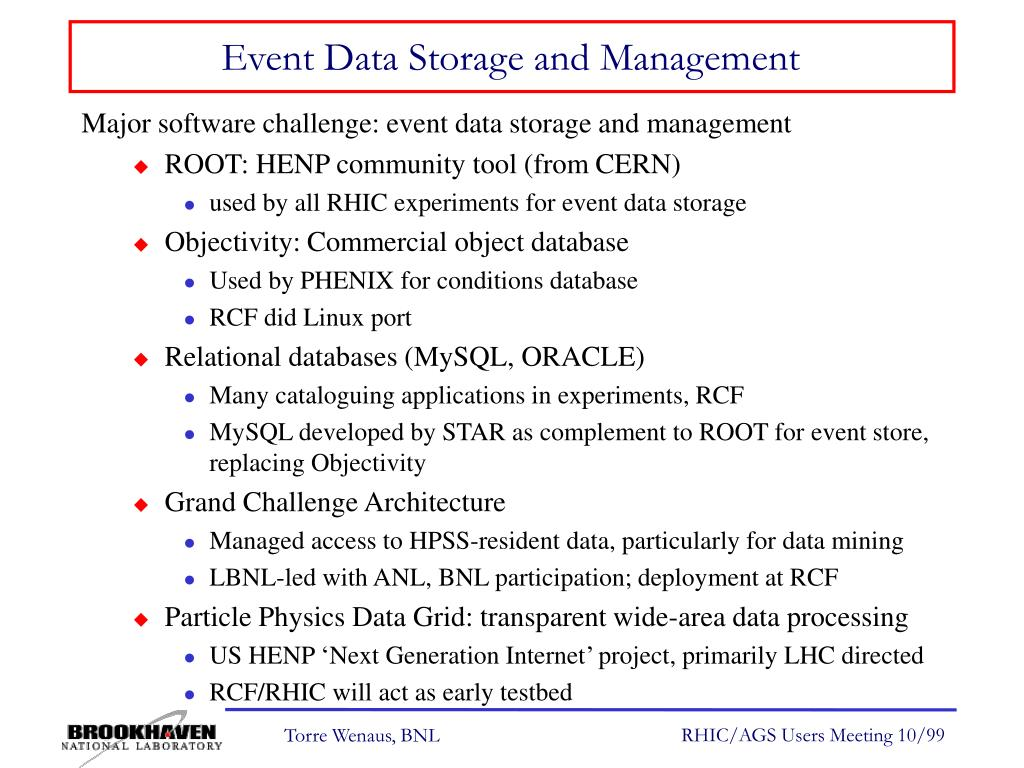 Event Data Storage and Management