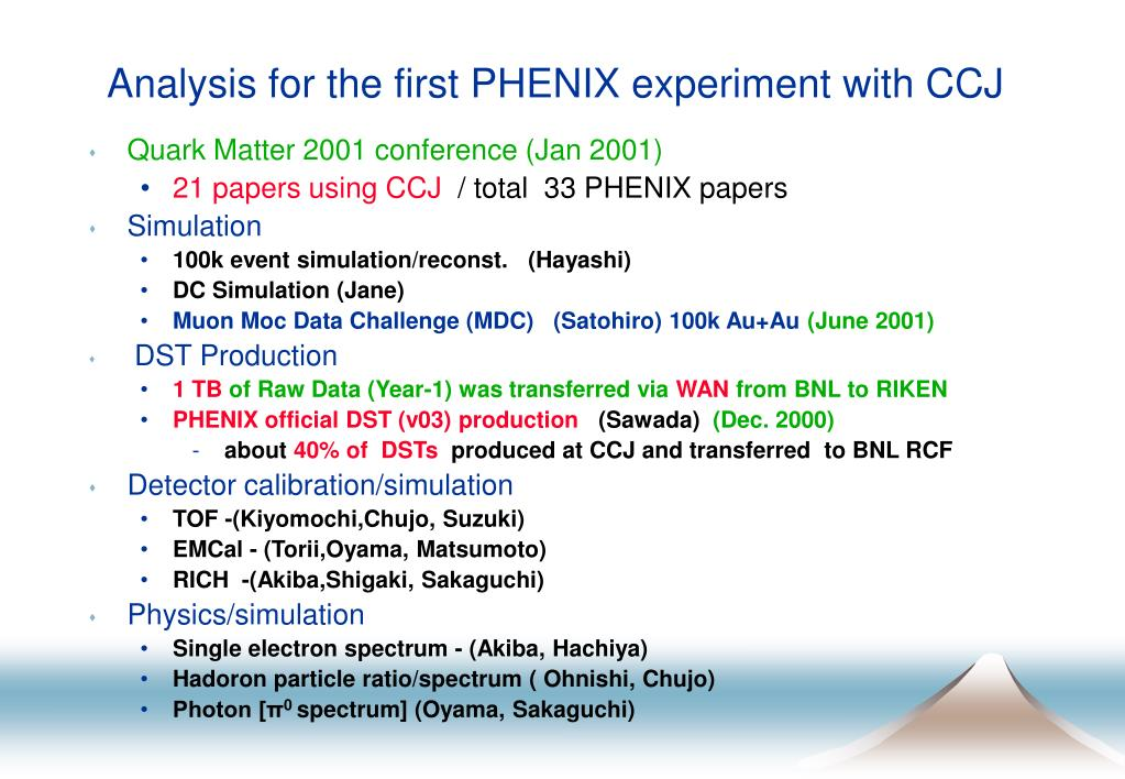 Analysis for the first PHENIX experiment with CCJ