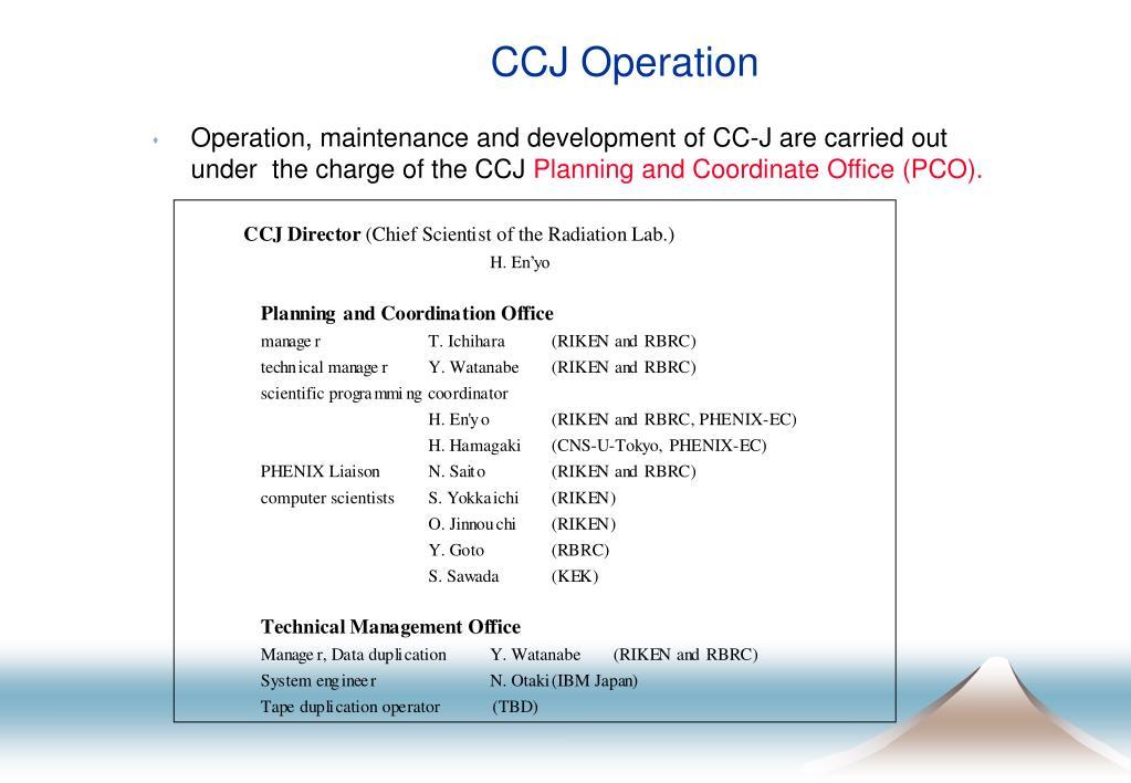CCJ Operation