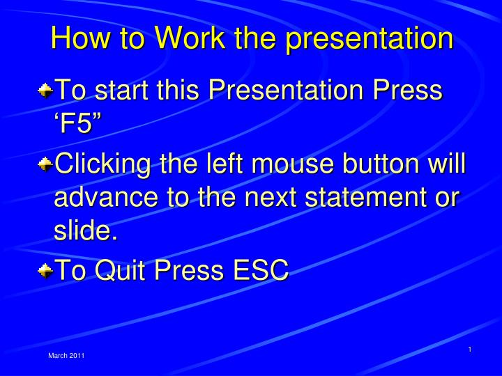 how to work the presentation n.