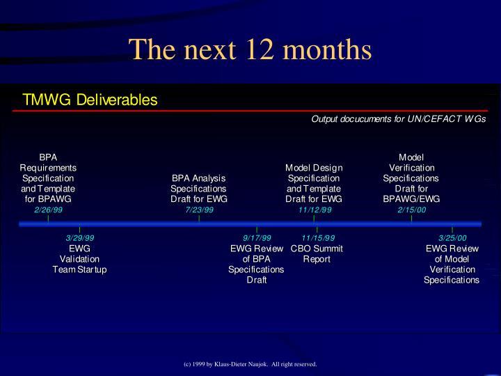 The next 12 months