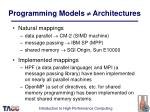 programming models architectures