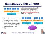 shared memory uma vs numa