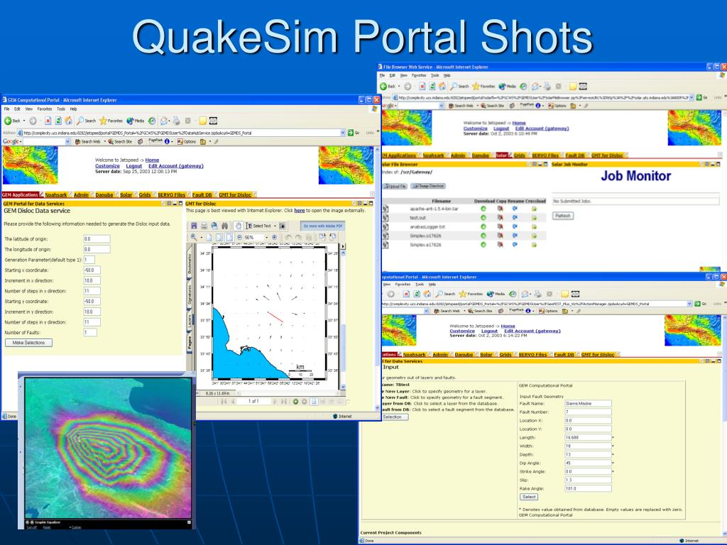 QuakeSim Portal Shots