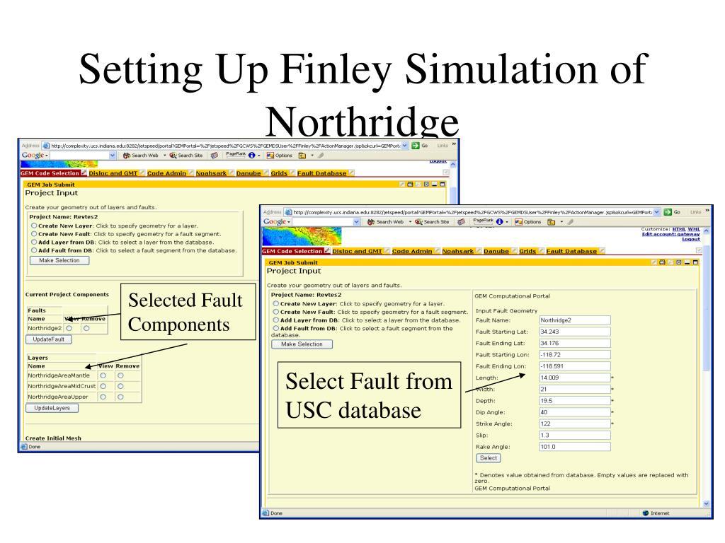 Setting Up Finley Simulation of Northridge