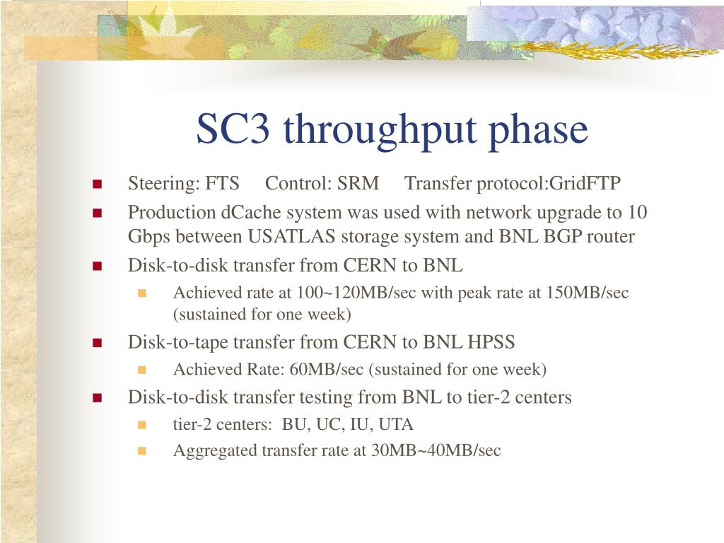 SC3 throughput phase