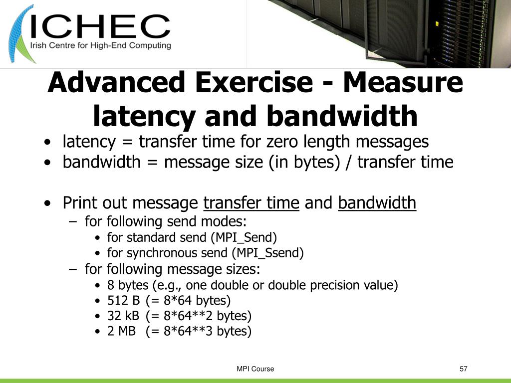 Advanced Exercise - Measure latency and bandwidth