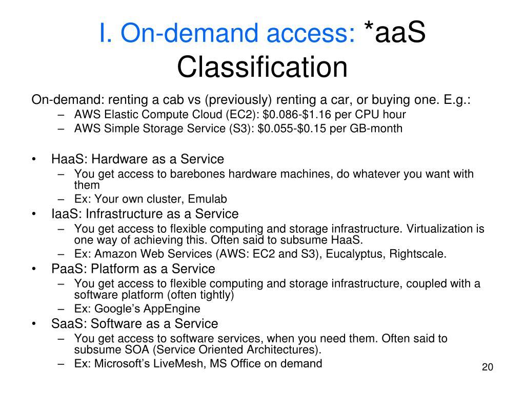 I. On-demand access:
