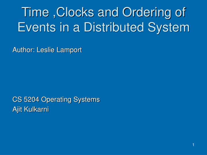 time clocks and ordering of events in a distributed system n.