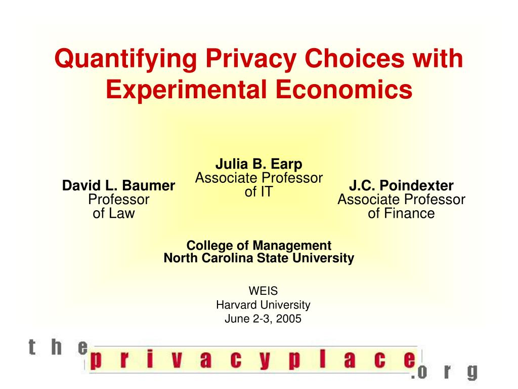 quantifying privacy choices with experimental economics l.