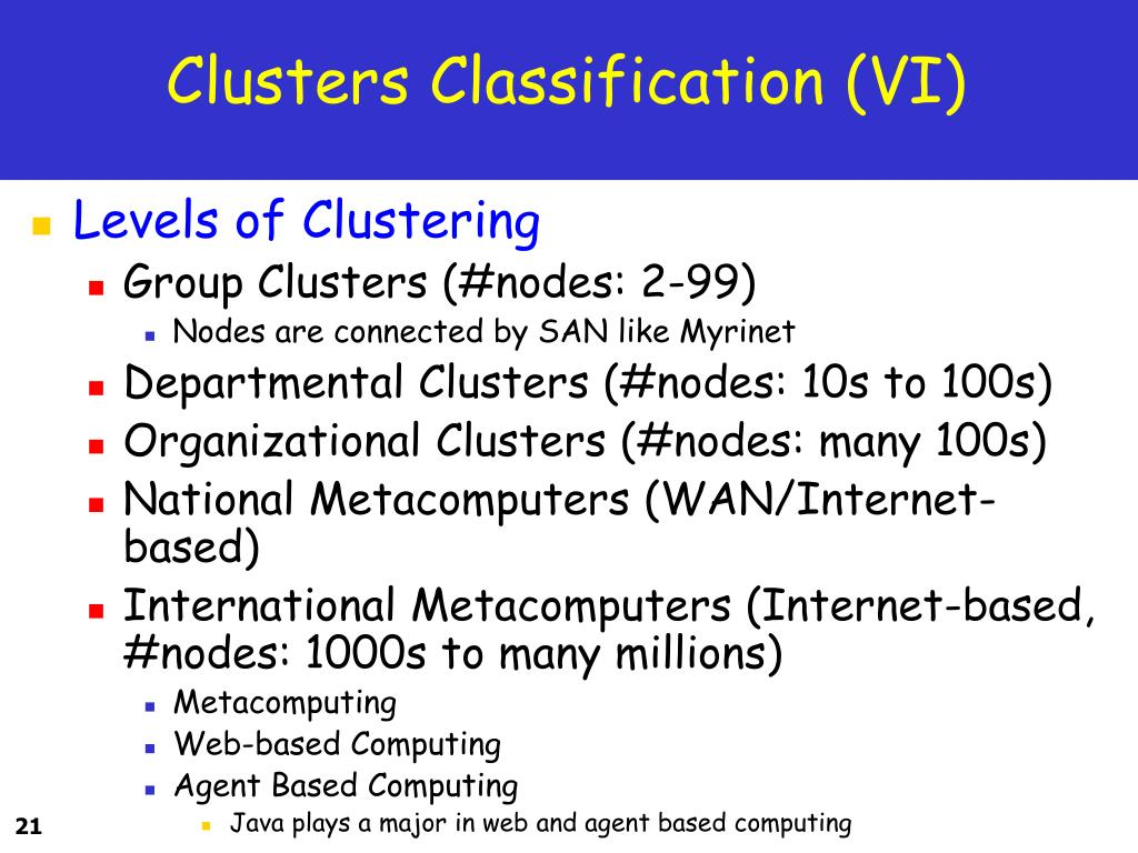 Clusters Classification (VI)