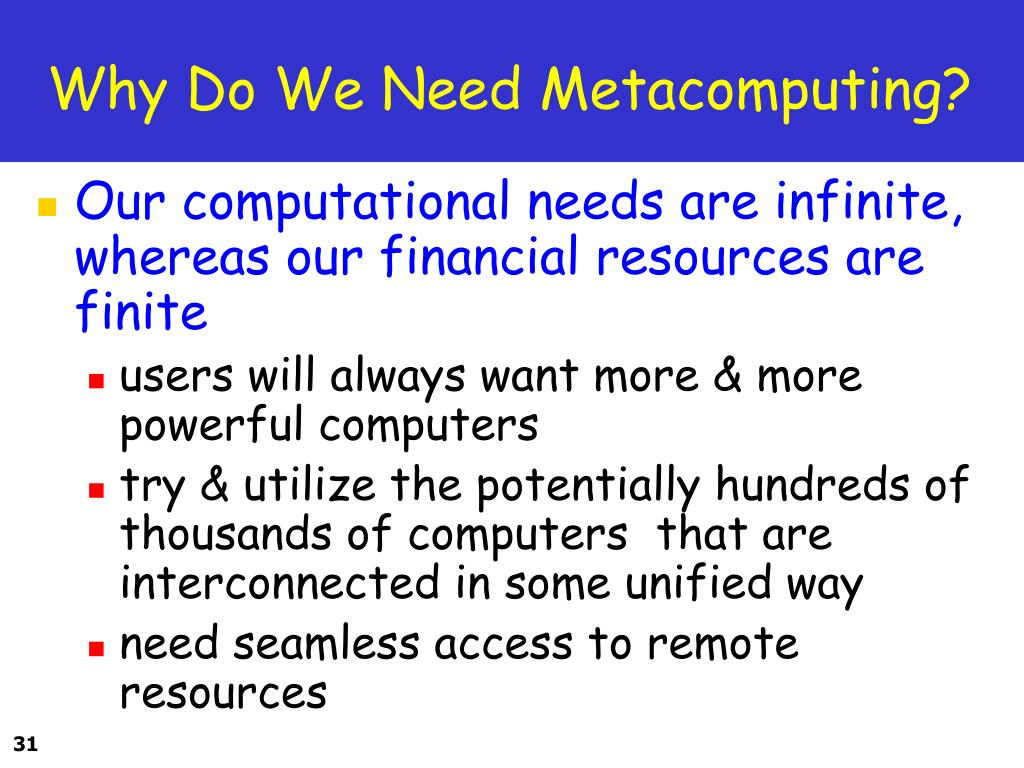 Why Do We Need Metacomputing?