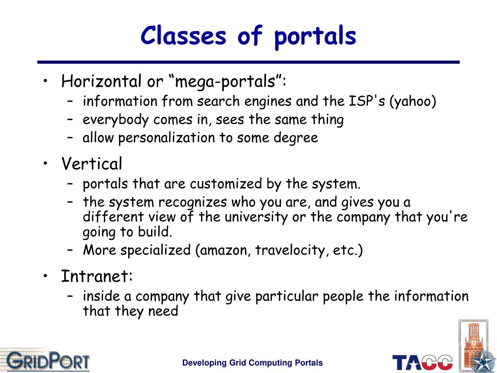 Classes of portals