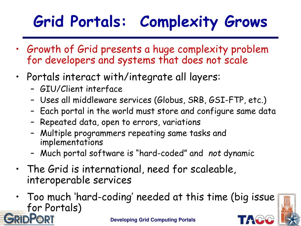 Grid Portals:  Complexity Grows
