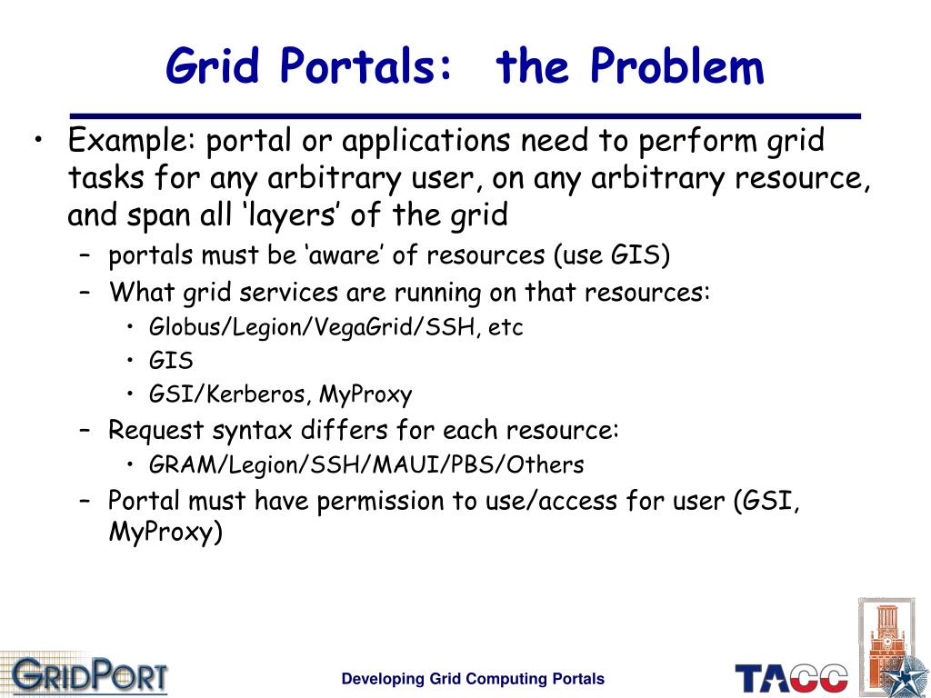 Grid Portals:  the Problem
