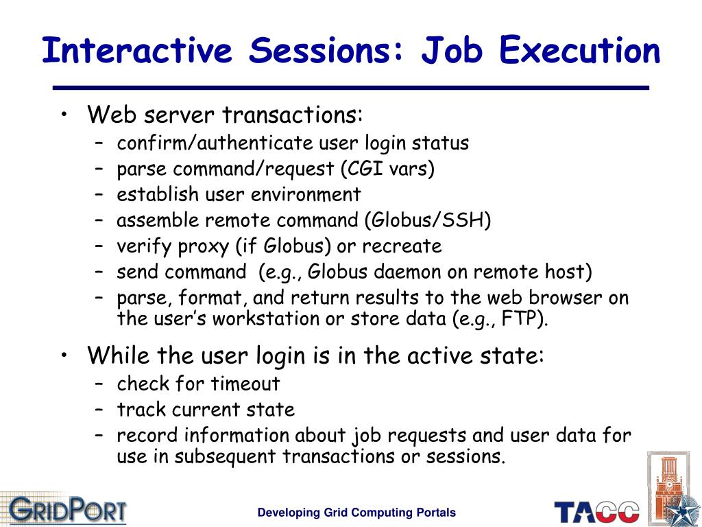 Interactive Sessions: Job Execution