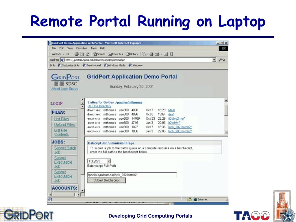 Remote Portal Running on Laptop