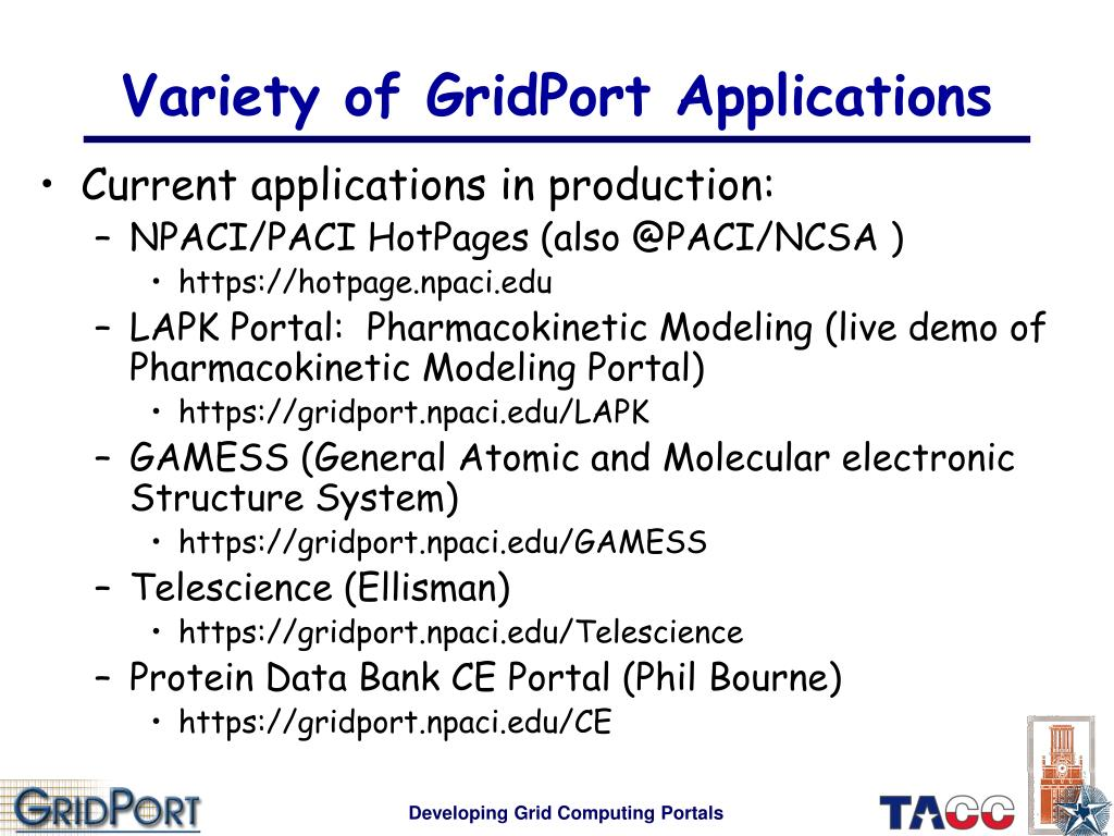 Variety of GridPort Applications
