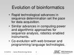 evolution of bioinformatics