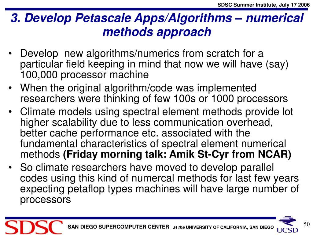 3. Develop Petascale Apps/Algorithms – numerical methods approach