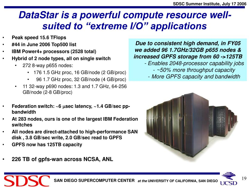 """DataStar is a powerful compute resource well-suited to """"extreme I/O"""" applications"""