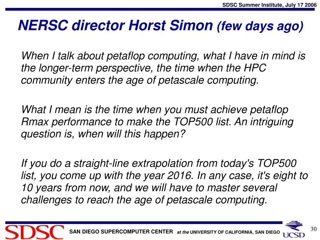 NERSC director Horst Simon