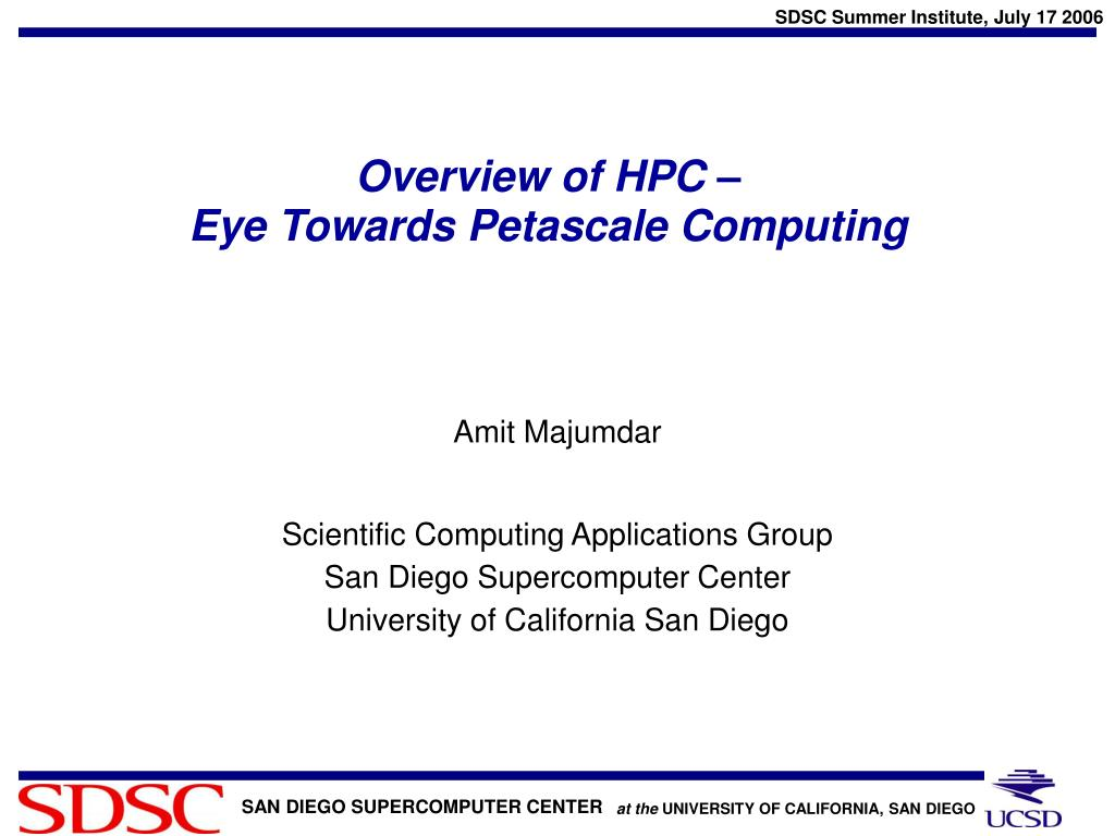 overview of hpc eye towards petascale computing l.