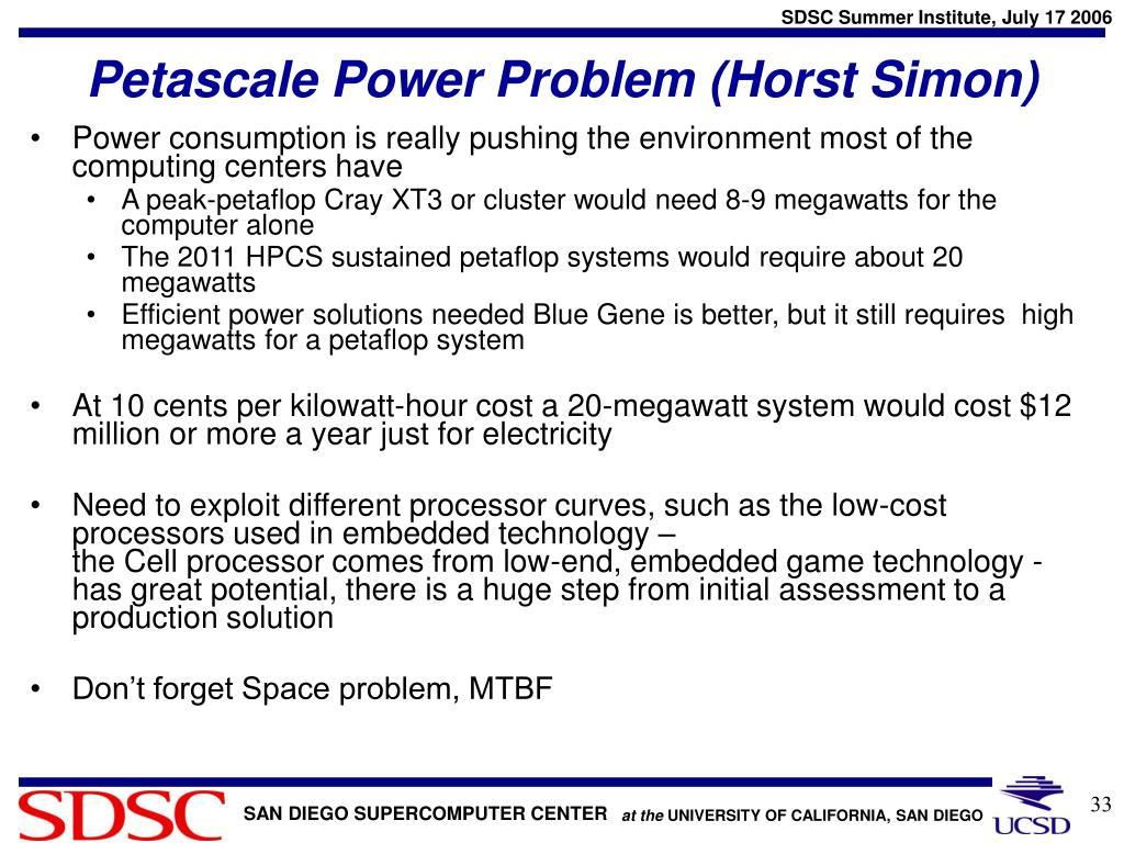 Petascale Power Problem (Horst Simon)