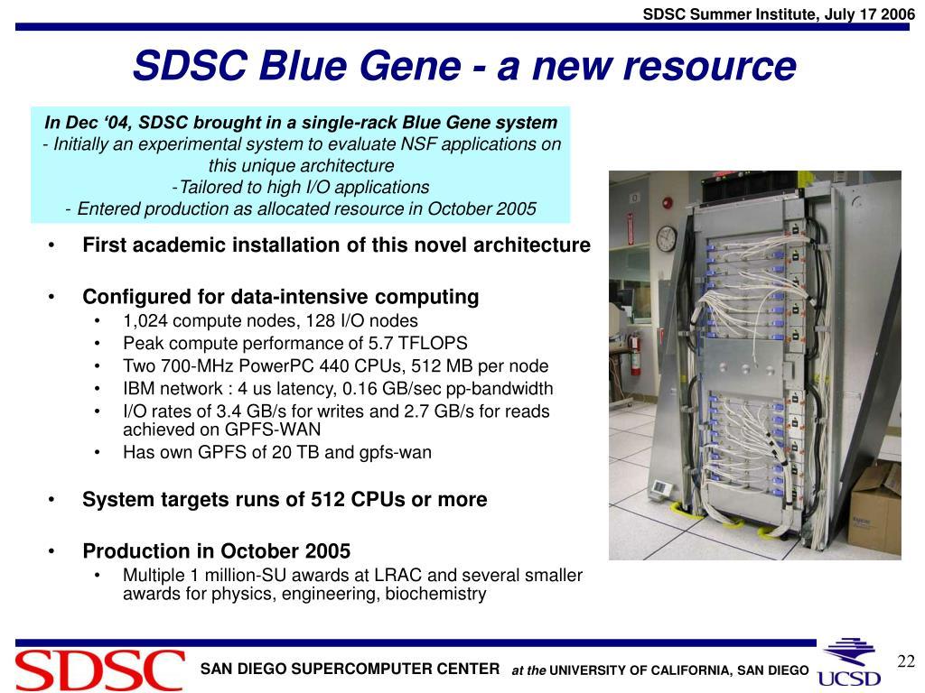 SDSC Blue Gene - a new resource