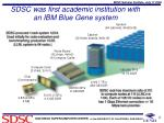 sdsc was first academic institution with an ibm blue gene system