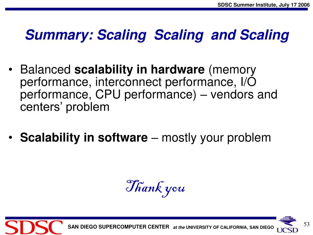 Summary: Scaling  Scaling  and Scaling