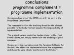 conclusions programme complement programme implementation