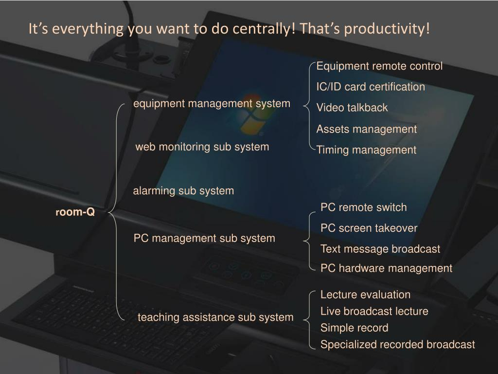 It's everything you want to do centrally! That's productivity!