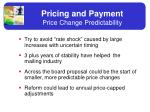 pricing and payment price change predictability