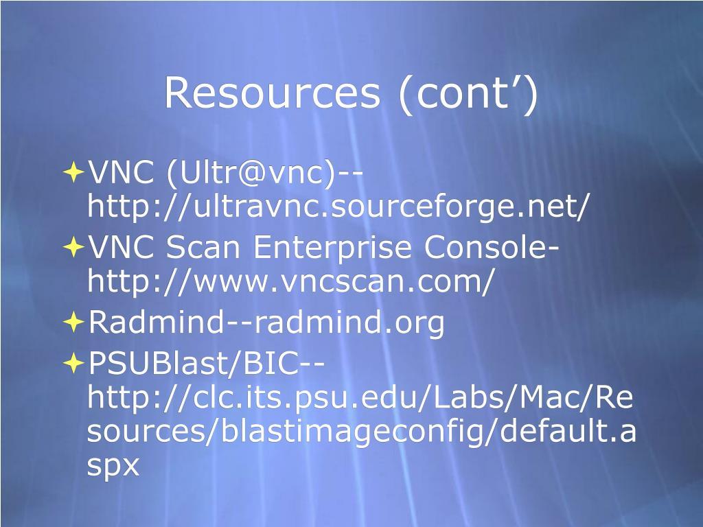 Resources (cont')