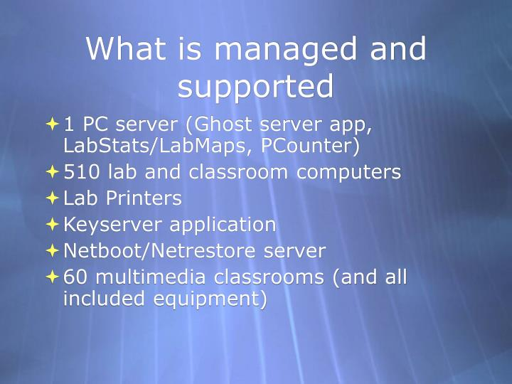 What is managed and supported