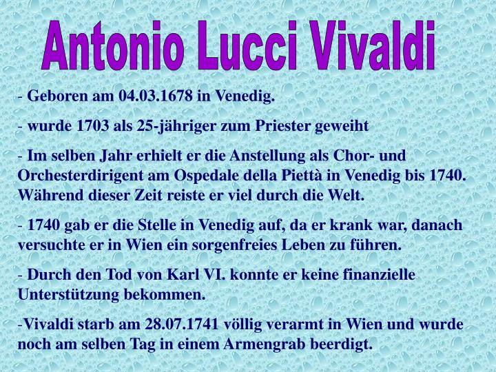 antonio lucci vivaldi - Antonio Vivaldi Lebenslauf