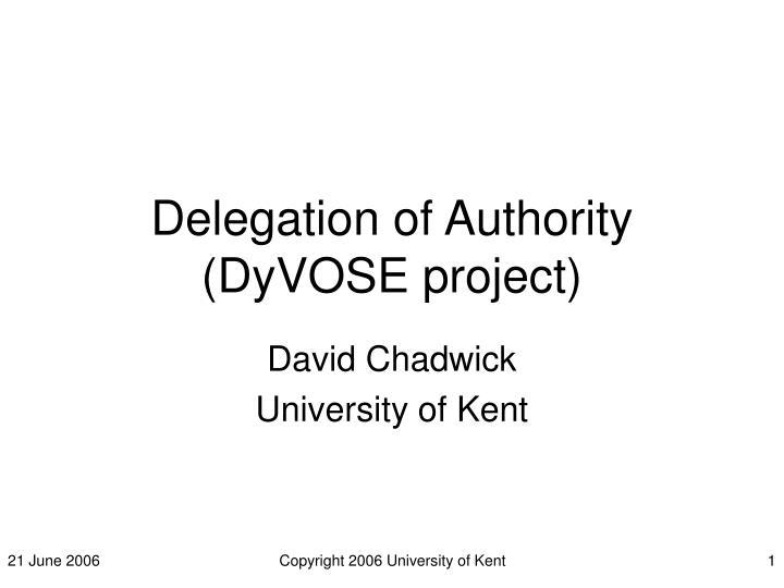 delegation of authority dyvose project n.