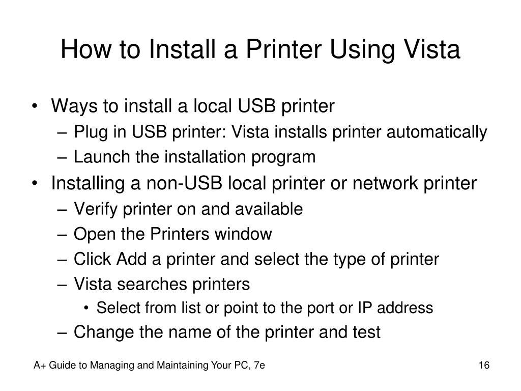 How to Install a Printer Using Vista