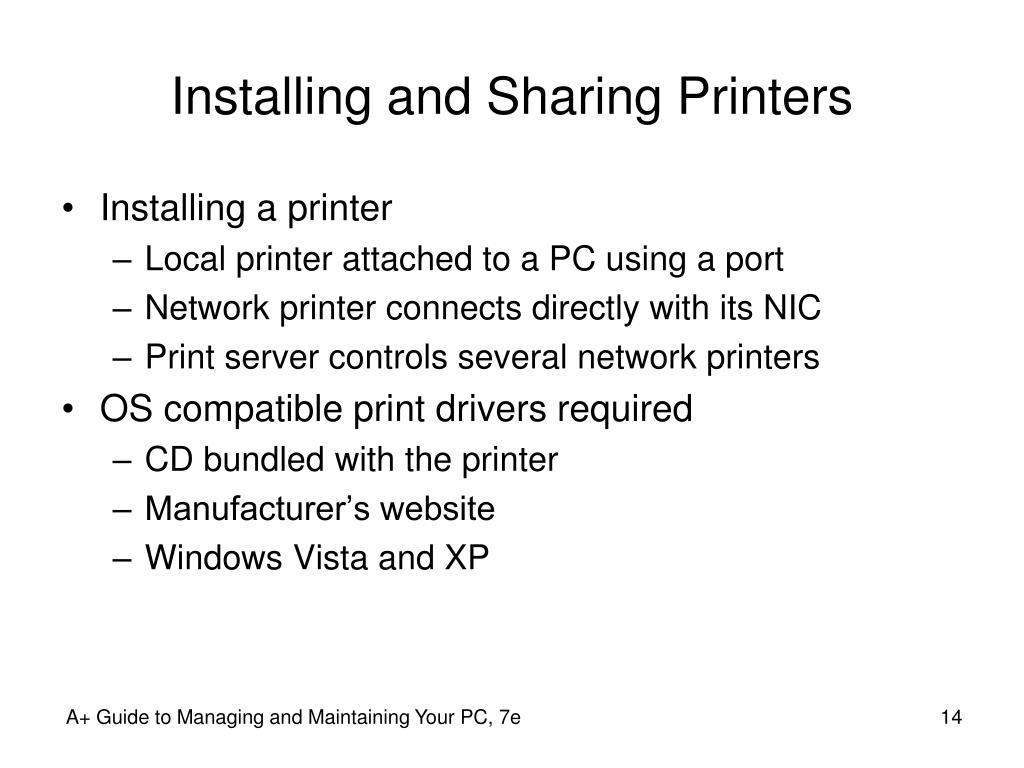 Installing and Sharing Printers