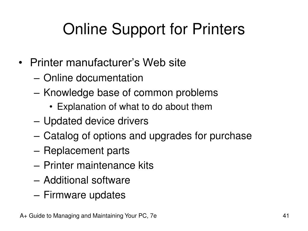 Online Support for Printers