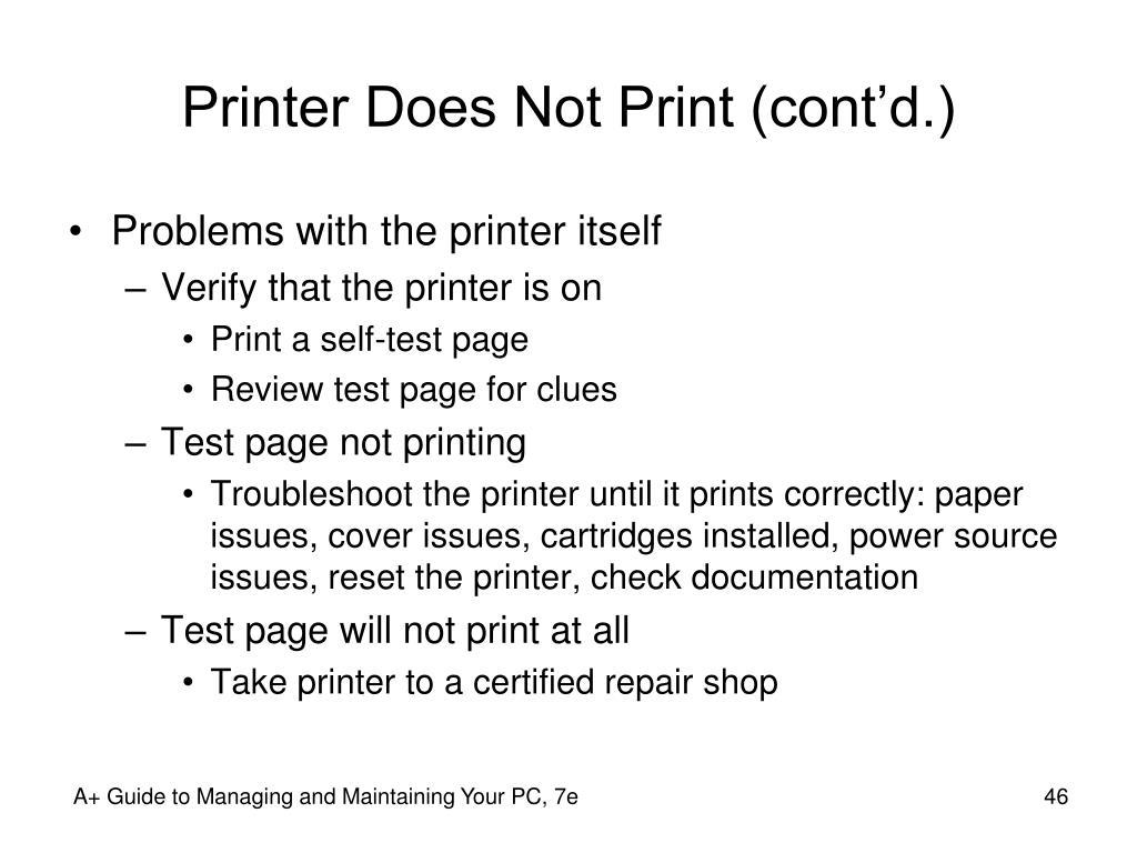 Printer Does Not Print (cont'd.)
