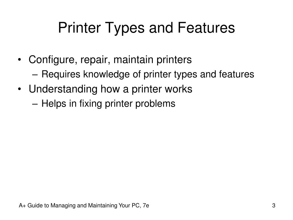 Printer Types and Features