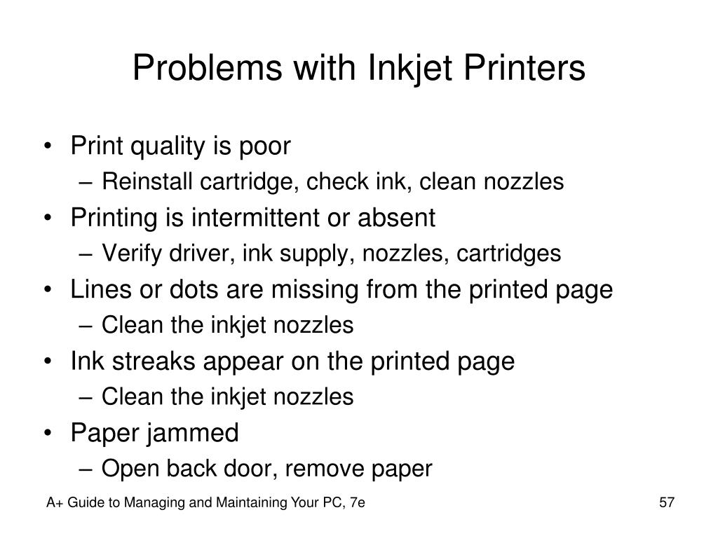 Problems with Inkjet Printers
