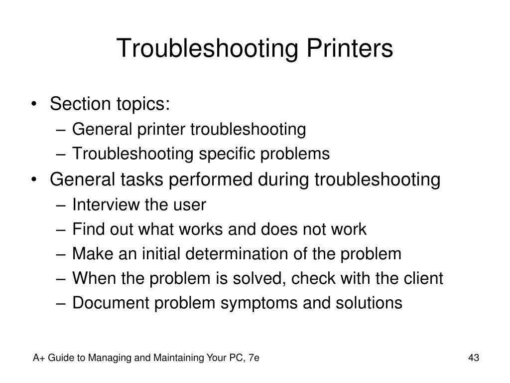 Troubleshooting Printers